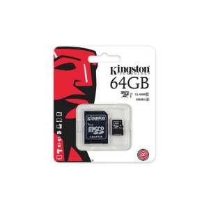 KINGSTON microSDXC Memoriakartya 64GB + adapter
