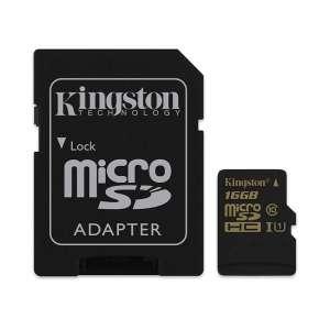 KINGSTON Memóriakártya MicroSDHC 16GB + Adapter