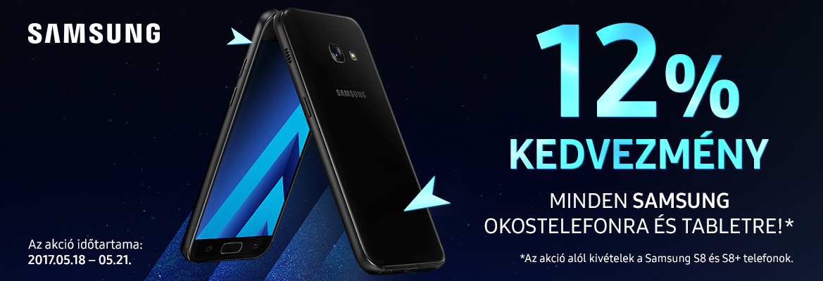 12% kedvezmény minden Samsung okostelefonra és tabletre!