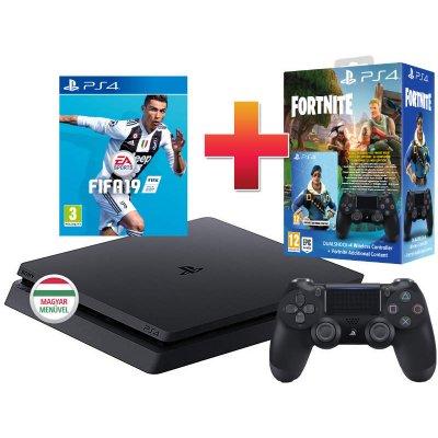 PS4 Slim 500 GB Konzol + 1 PS4 kontroller + Fifa 19 + Fortnite bónusz tartalom