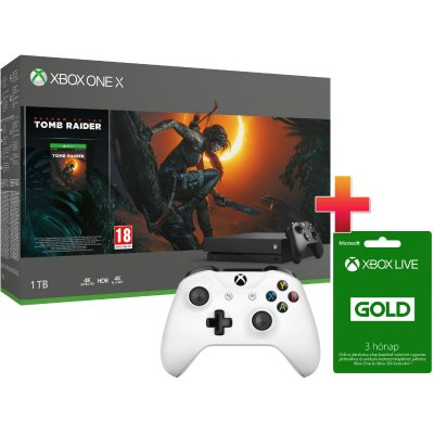 Xbox One X 1 TB Konzol Shadow of the Tomb Raider csomag + 1 Xbox One kontroller + 3 hónap Xbox Live Gold