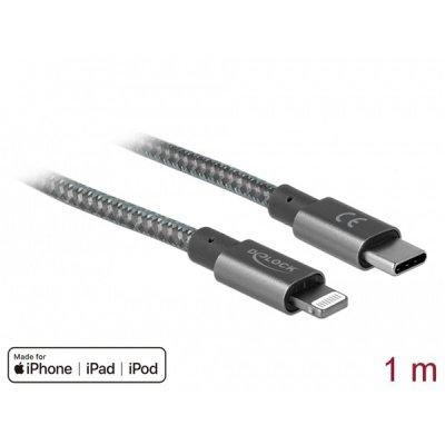 DELOCK USB Type-C - Lightning adat és töltő, iPhone, iPad, iPod készüékhez, 1m (85297)