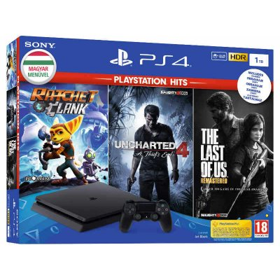 Sony PlayStation 4 Slim Jet Black 1TB + PS Hits: Ratchet & Clank + Uncharted 4 + The Last of Us Remastered