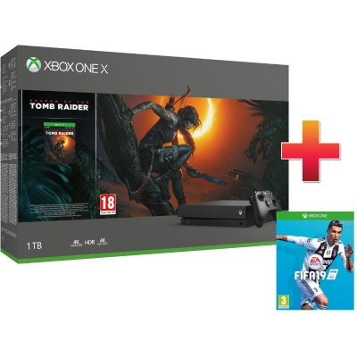 Xbox One X 1 TB Konzol Shadow of the Tomb Raider csomag + Fifa 19