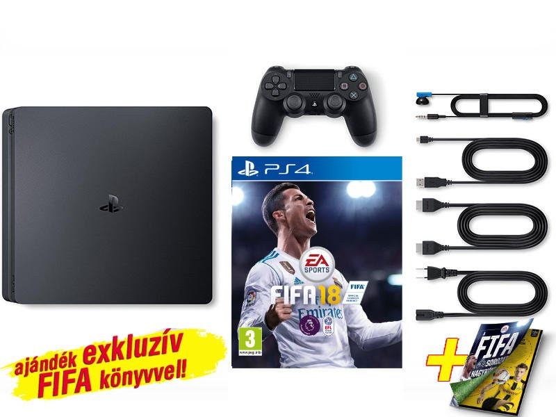 PS4 Slim konzol 1 TB Fekete + Fifa 18