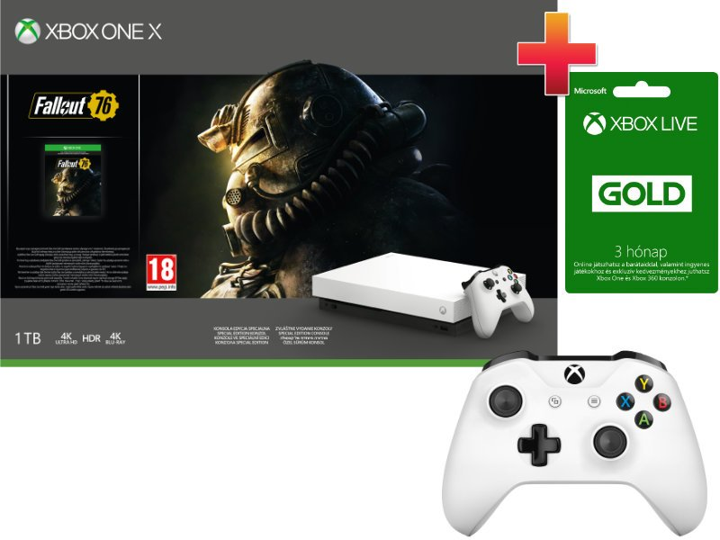Xbox One X 1TB Konzol Fallout 76 Robot White Special Edition csomag + 1 Xbox One kontroller + 3 hónap Xbox Live Gold