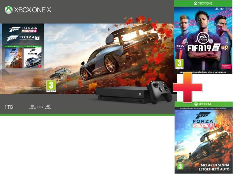 Xbox One X 1 TB Konzol Forza Horizon 4 + Forza Motorsport 7 csomag + Fifa 19