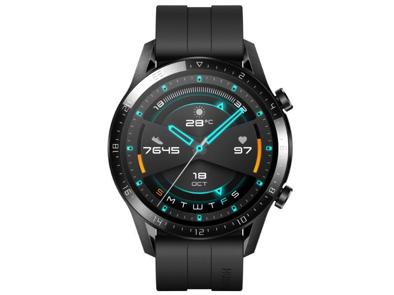 Huawei Watch GT 2 Sport sportóra, 46mm, fekete tok, fekete szilikonszíj