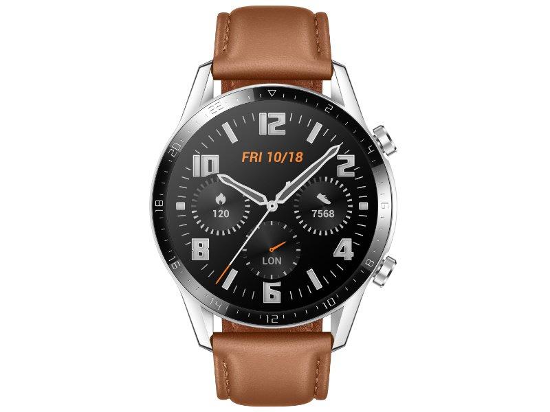 Huawei Watch GT 2 Classic sportóra, 46mm, ezüst tok, barna bőr szíj
