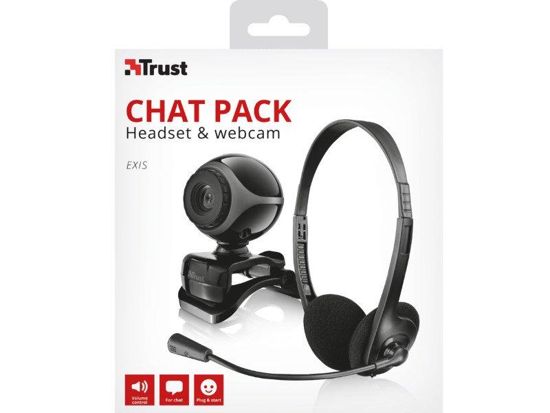 TRUST Exis Chat Pack Webkam+Headset (17028) fekete