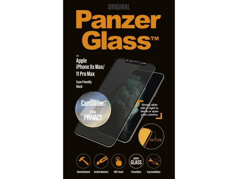PanzerGlass Apple iPhone Xs Max/11 Pro Max CamSlider Privacy tokbarát üvegfólia (5711724126697) fekete