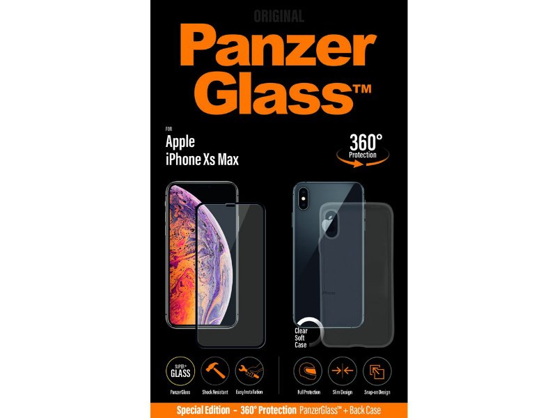PanzerGlass Apple iPhone Xs Max üvegfólia és szilikon tok (5711724226441) fekete