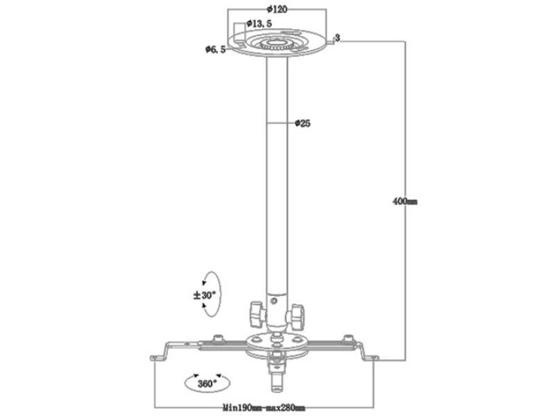 Multibrackets Projektor mennyezeti konzol III, univerzális, 180-430 mm (7350022731011) fehér