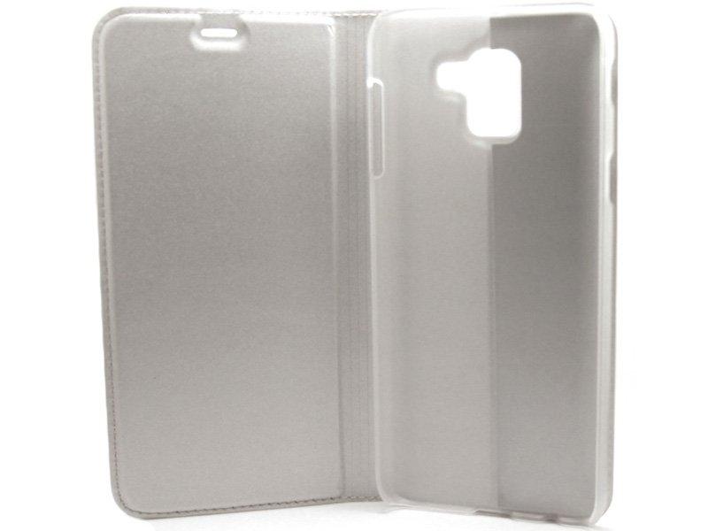 Samsung Galaxy J6 Flip oldalra nyiló tok Ezüst