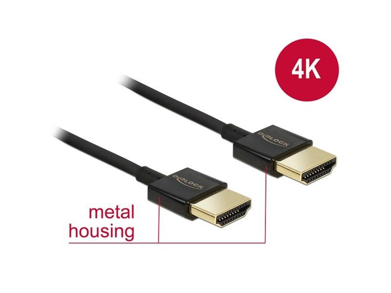 DELOCK Premium minőségű HDMI összekötő kábel, 2m (84773) fekete
