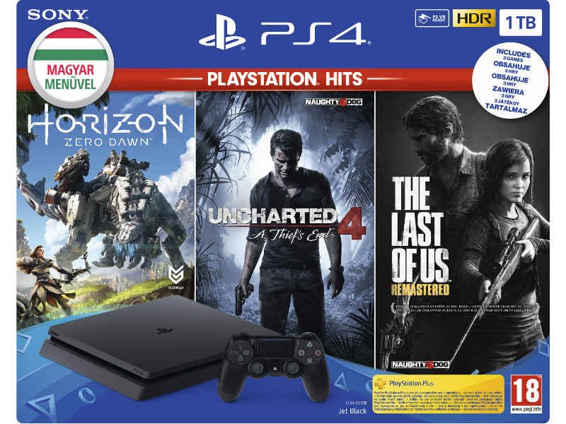 PS4 Slim 1TB + 3 játék PlayStation Hits (PS719931508)