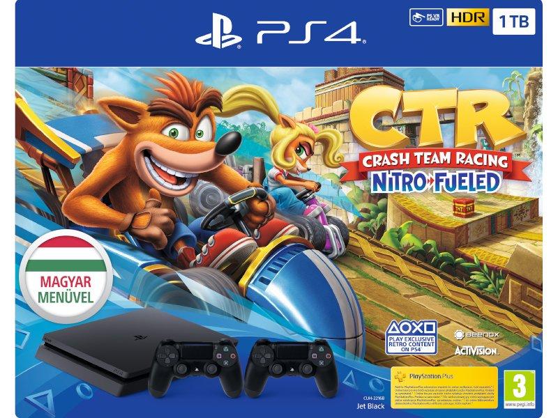 PS4 Slim 1TB Konzol + Crash Team Racing: Nitro-Fueled + PS4 kontroller