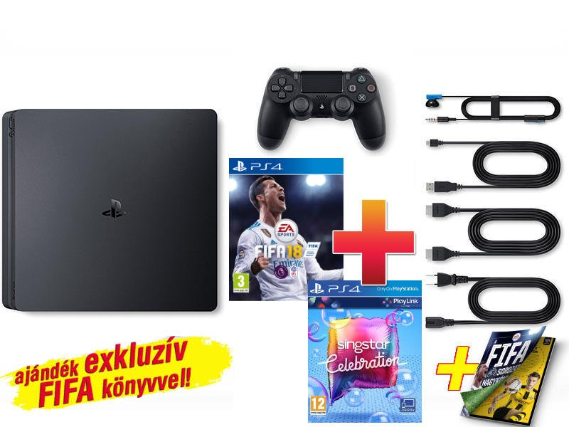 PS4 Slim konzol 1 TB Fekete + 2 játék