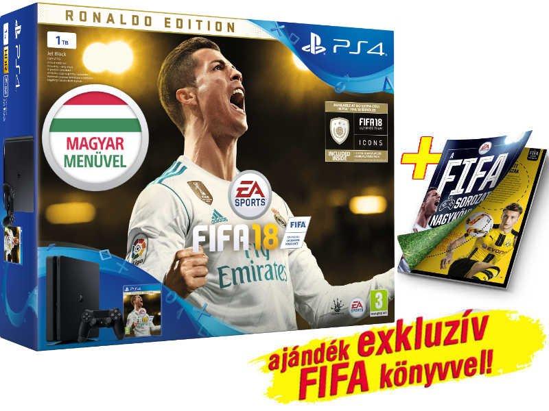 PS4 Slim konzol 1 TB Fekete + FIFA 18 Ronaldo Edition