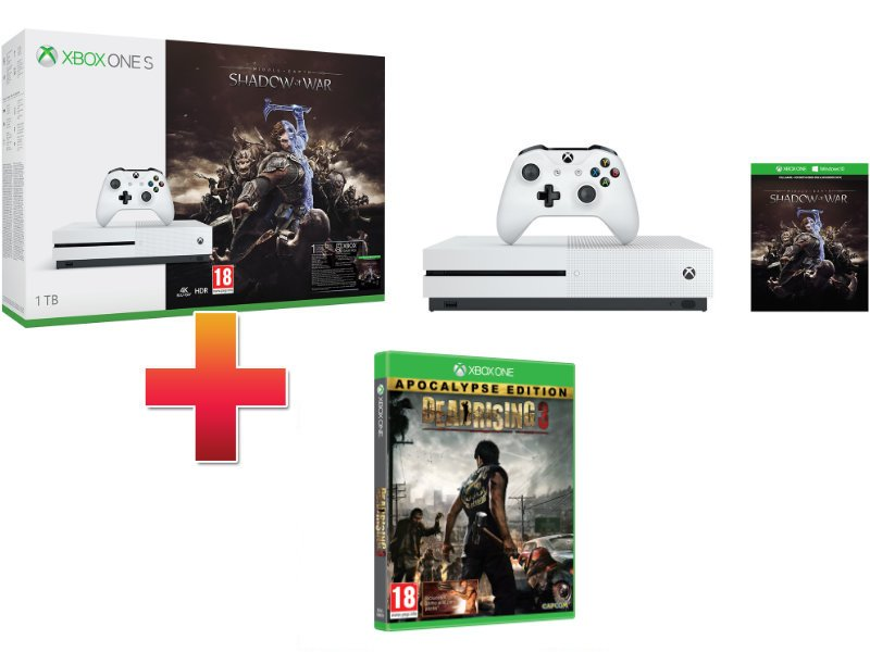 Xbox One S 1TB Konzol Middle-Earth: Shadow of War csomag + Dead Rising 3