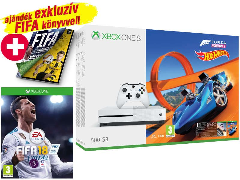Xbox One S konzol 500 GB Fehér + Fifa 18 + Forza Horizon 3 + Hot Wheels DLC