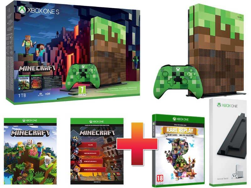 Xbox One S 1 TB Konzol Minecraft Limitált csomag + Függőleges állvány