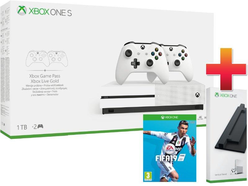 Xbox One S 1 TB Két Kontrolleres Konzol Csomag + Fifa 19 + Függőleges állvány