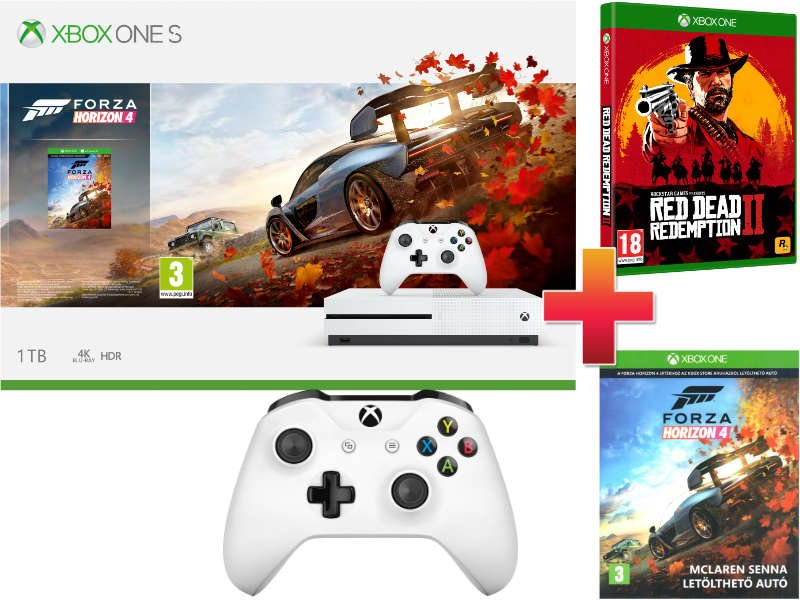 Xbox One S 1 TB Konzol Forza Horizon 4 csomag + Red Dead Redemption 2