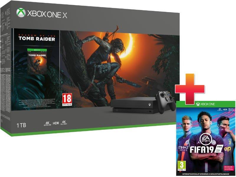 Xbox One X 1 TB Konzol Tomb Raider csomag + Fifa 19