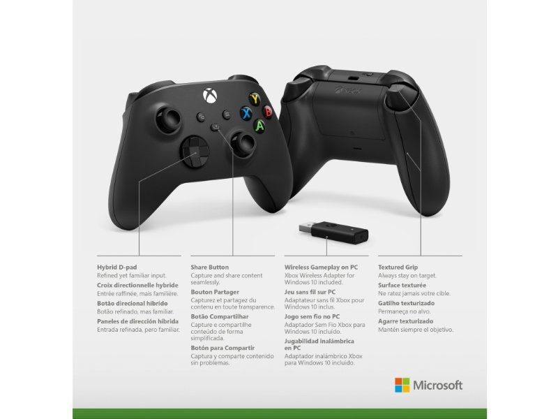 Microsoft Xbox Series Gamepad, kontroller, Carbon Black + Vezeték nélküli adapter Windows 10-hez